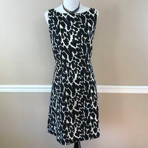 Ann Taylor  Black/White Giraffe Print Dress 12